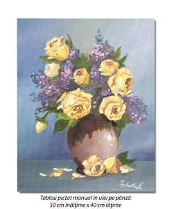 poza Ulcica cu trandafiri galbeni - 50x40cm ulei pe panza, Superb!