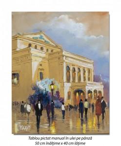 Poza Scena citadina, Bucurestiul interbelic - 50x40cm pictura ulei pe panza, Magistral!