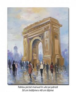 poza La Arcul de Triumf - 50x40cm pictura ulei pe panza, Magistral!