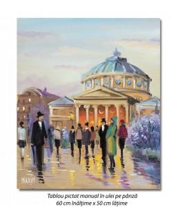 poza La Ateneu, inainte de concert - 60x50cm tablou ulei pe panza, Magistral!