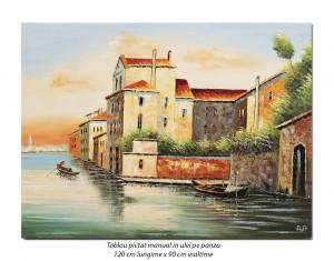 poza Tablou GIGANT living - Peisaj Venetian (2) - 120x90cm ulei in cutit efect 3D, Superb!
