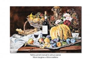 poza Natura statica cu fructe - 90x60cm pictura ulei pe panza, reproducere Theodor Aman, Fabulos