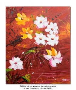 poza Ale mele flori, stilizat (4) - 60x50cm pictura ulei in cutit, Superb!