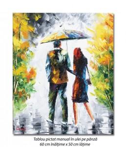 poza Cu iubita/iubitul prin ploaie (1), stilizat - 60x50cm ulei in curtit efect 3D, Superb!
