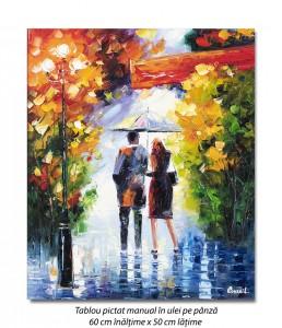 poza Cu iubita/iubitul prin ploaie (2), stilizat - 60x50cm ulei in curtit efect 3D, Superb!