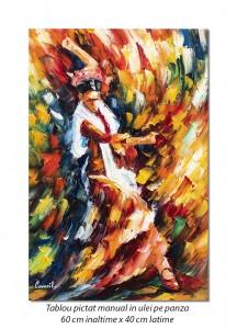poza Tablouri hol, living - Flamenco (1), stilizat - 60x40cm ulei in cutit efect 3D, Magnific!