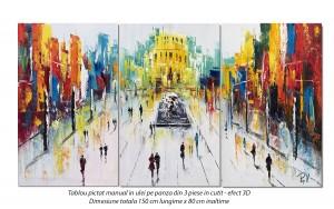 poza Tablou living, dormitor - Peisaj citadin modern - 150x80cm tablou 3 piese, in cutit efect 3D - Spectaculos!