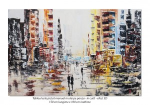 poza Peisaj citadin modern abstract - tablou GIGANT 150x100cm, ulei pe panza in cutit efect 3D, Magistral!