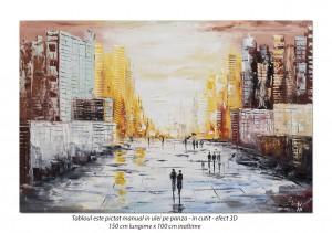 poza Peisaj citadin modern abstract (2) - tablou GIGANT 150x100cm, ulei pe panza in cutit efect 3D, SPECTACULOS!