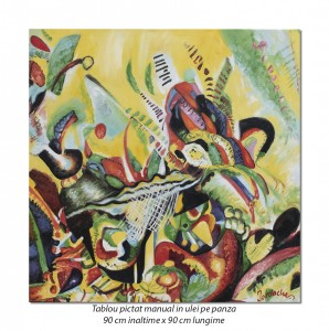 poza Tablou abstract 90x90cm - ulei pe panza, reproducere Wassily Kandinsky