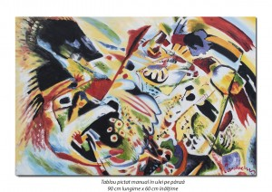 poza Tablou abstract 90x60cm - ulei pe panza, reproducere Wassily Kandinsky (1)