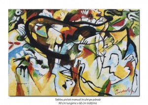 poza Tablou abstract 90x60cm - ulei pe panza, reproducere Wassily Kandinsky (2)