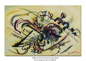 poza Tablou abstract 90x60cm - ulei pe panza, reproducere Wassily Kandinsky (3)