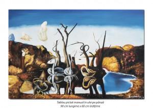 poza Lebede care reflectă elefanți - 90x60cm ulei pe panza, repro Salvador Dali