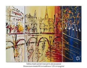 poza Peisaj citadin modern din 3 piese - 120x90cm ulei pe panza, Spectaculos!