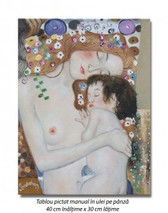 poza Cele trei varste ale femeii (detaliu) - 40x30cm ulei pe panza - repro Gustav Klimt, Magistral! (2)