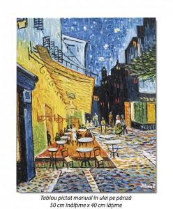 poza The Cafe Terrace - 50x40cm ulei pe panza, repro Vincent van Gogh, Magistral! (2)