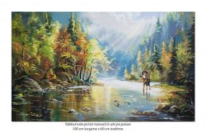 poza Tablou peisaj feeric cu pescari - 100x60cm pictura in ulei pe panza, Magistral!