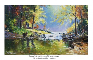 Poza Peisaj feeric cu ursi la parau - 100x60cm pictura ulei pe panza, Magnific!