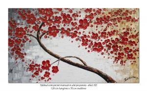 poza Tablou living, dormitor - Bucurie florala - 120x70cm ulei pe panza in relief, efect 3D, Magnific!