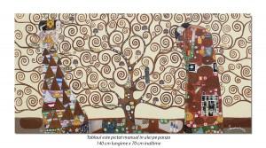 poza Tablou GIGANT living, dormitor - Copacul vietii - 140x70cm ulei pe panza - reproducere Gustav Klimt (2)