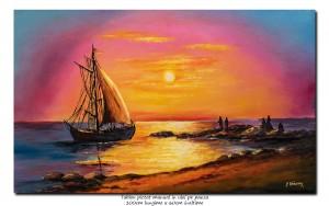 poza Tablou living - Apus de soare cu vela  - 100x60cm ulei pe panza, Spectaculos!