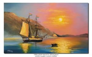 poza Apus de soare cu velier - 100x60cm pictura ulei pe panza, Magnific!