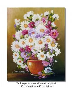 Margaretele mele - 50x40cm pictura ulei pe panza, Superb@