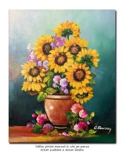poza Ulcica cu floarea soarelui si bujori - 50x40cm ulei pe panza, Superb@