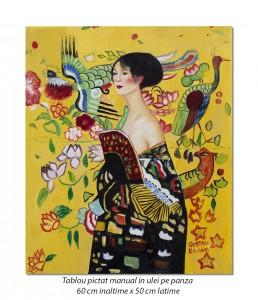 poza Doamna cu evantai - ulei pe panza de in 60x50cm, repro Gustav Klimt, Magistral!