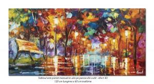 poza Tablou living - Banca noastra, stilizat - 120x60cm pictura in cutit, panza in efect 3D, Magistral