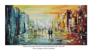 poza Tablou gigant living, office - Peisaj citadin abstract - 120x60cm pictura ulei cutit, panza in, efect 3D, Spectaculos!