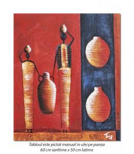 Tablou african - In cautarea apei (2) - 60x50cm ulei pe panza in relief