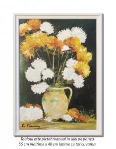 poza Crizanteme - 55x40cm cu rama, ulei pe panza, elegant - repro Stefan Luchian