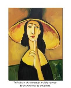 poza Femeie cu palarie - 80x60cm tablou ulei pe panza - repro Amedeo Modigliani, Superb!