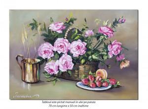poza Aranjament cu trandafiri - 70x50cm ulei pe panza, Magistral