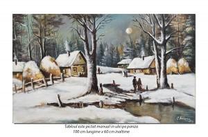 Tablou living, dormitor - A venit iarna! - 100x60cm ulei pe panza, Magnific!