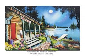 poza Pescari sub clar de luna - 100x60cm pictura peisaj ulei pe panza, Spectaculos!