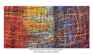 poza Tablou living, birou - Compozitie abstracta (2) - 120x60cm ulei pe panza, Spectaculos!