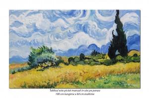 poza Camp cu grau si chiparosi - 100x60cm ulei pe panza, repro Vincent van Gogh, Magistral!