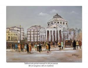 poza Ateneul, Bucurestiul interbelic - 80x60cm pictura peisaj ulei pe panza, Fabulos!
