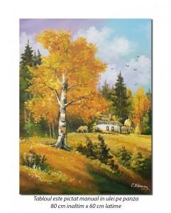 Pe meleaguri mioritice (2) - pictura 80x60cm, ulei pe panza, Magnific!