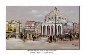 poza Ateneul, Bucurestiul interbelic - 100x60cm pictura peisaj ulei pe panza, Fabulos!