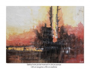Tablou GIGANT abstract - Magical (1) - 120x90cm ulei pe panza efect 3D, Magnific!
