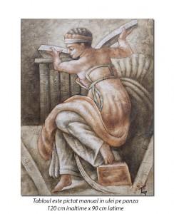 Tablou GIGANT living - Sibila Libiană (Michelangelo) - 120x90cm ulei pe panza, Magnific!