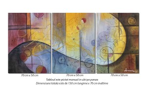 Tablou 3 piese abstract - Fantezie- 150x70cm ulei pe panza, Spectaculos!