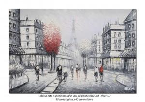 Paris - vedere turnul Eiffel (4), stilizat - 90x60cm ulei in cutit efect 3D, Spectaculos