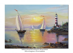 Peisaj marin cu far si veliere - 100x70cm pictat manual in ulei pe panza, Magistral!