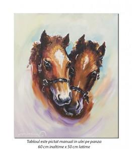 Beauty si Amadeus - 60x50cm pictura cai, ulei pe panza, Magnific