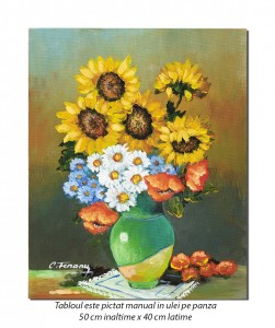 Carafa cu floarea soarelui, maci, margarete si albastrele - 50x40cm ulei pe panza, Magnific!